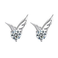 YAN & LEI Hot Sale Cute Lady 925 Sterling Silver Jewelry Angel Wings Crystal Ear Stud Earrings
