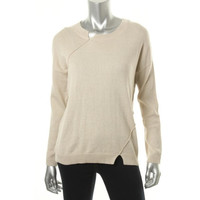 BCBGeneration Womens Elbow Patches Crew Neck Pullover Sweater
