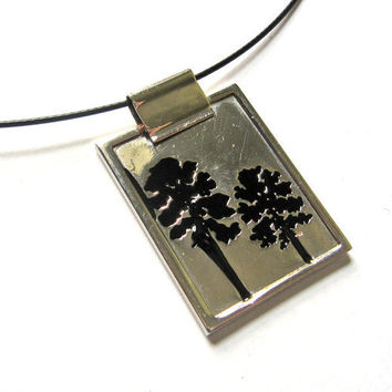 Silver Botanical Print Black Enamel Memory Wire by SovereignSea