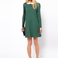 ASOS Swing Dress With Peter Pan Collar And Long Sleeves