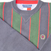 SALE// Preppy TOMMY HILFIGER PullOver Sweater/ NavyBlue Red & Green Stripes/ Oxford Mod CountryClub. Nautical Sailing Shirt. Retro Hipster