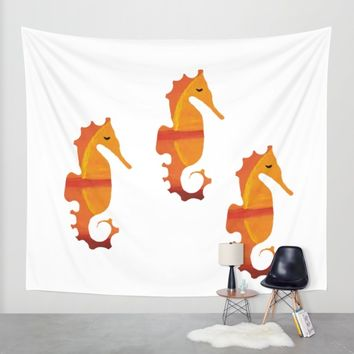 Abstract Acrylic Painting SUNSET SEA HORSE Wall Tapestry by Saribelle Inspirational Art | Society6