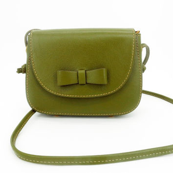 Women Genuine Leather Bow Shoulder Olive Green Small Handbag Crossbody Bag Purse For Lady
