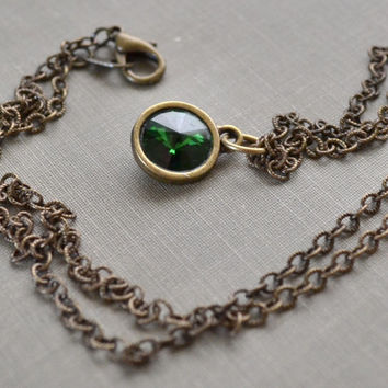 Moss Green Rivoli Necklace, Antique Brass, Dark Moss, Swarovski Crystal Necklace, Boho Layering Necklace, Bridesmaid Jewelry Gift