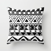 Aztec Black and White Throw Pillow by Georgie Pearl Designs | Society6