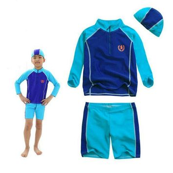 DCCKHG7 Brand Professional Sport Swimsuit Kids Swimwear for Boys Girls Long Sleeves Two Pieces Bathing Suits Sunscreen Swimming Suit