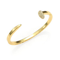 Giles & Brother Pavé Skinny Railroad Spike Cuff Bracelet/Goldtone