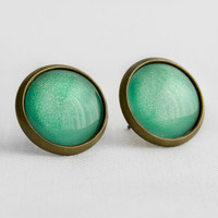 Mint Apple Post Earrings in Antique Bronze - Minty Green Studs with Subtle Shimmer