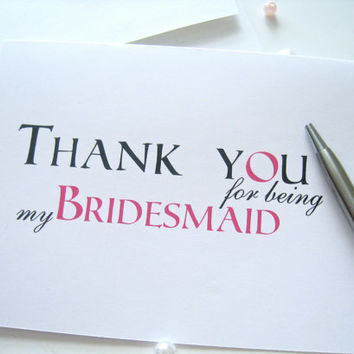 Bridesmaid thank you cards, thank you notes for bridesmaids - set of 4