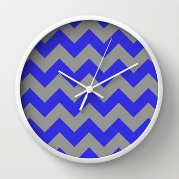 Chevron Navy Wall Clock by Alice Gosling
