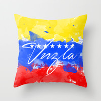 Venezuela Flag water Color Throw Pillow by Maioriz Home