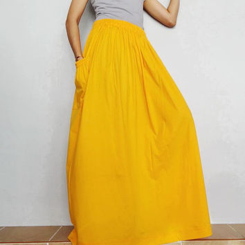 Women Maxi Long Skirt , Casual Gypsy, Bohemian , Cotton Blend In Pumpkin (Skirt *M21).