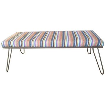 Pre-owned Upholstered Bench with Hairpin Legs