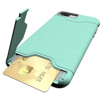 KEYSION Case for iPhone 8 8 Plus  PC + Silicone Dual Layer Anti Shock Brushed Drawing Stand Card Slot  Cover For iPhone7 7 Plus