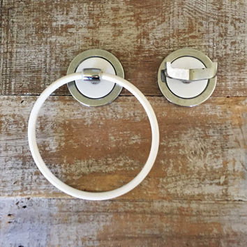Towel Ring and Towel Hook Set Chrome and Enamel Towel Ring and Hook Set Bathroom Hardware Set Hand Towel Holder and Double Towel Hook