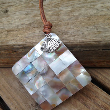Shell Pendant Necklace ,Square Checker Board, Checkerboard ,Complete with Clam shell Charm Mother of Pearl Abalone Handmade.