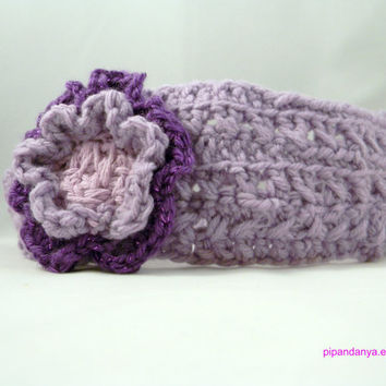 Ear Warmer, Purple Headband, Crochet Headband, Hair Wrap