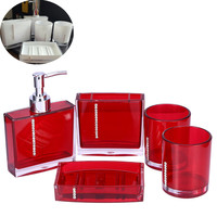 5Pcs/Set Acrylic Bathroom Set Accessories Hand Soap Dish Dispenser Tumbler Toothbrush Holder Bathroom Home Decorate
