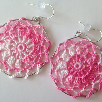 Pink and White Lace Earrings, Cotton Thread Doily Earrings, Romantic Floral Jewelry, Flower Girl, Cherry Blossom Hoops, Gift For Teens