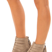 Taupe Suede Booties with Strappy Detail