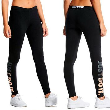 "NIKE Popular Women Casual ""JUST DO IT"" Letter Print Sport Yoga Pants Trousers Sweatpants I12326-5"
