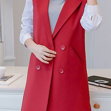 Streetstyle  Casual Longline Sleeveless Notch Lapel Double Breasted Plain Blazer