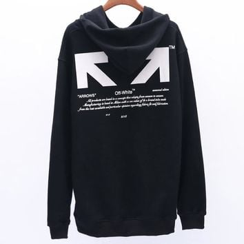 OFF-WHITE autumn and winter new 03 letter arrow men and women loose hoodie black