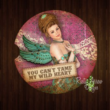 Vintage You Can't Tame My Wild Heart Sandstone Car Coaster