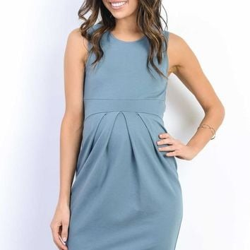 Front Pleat Sleeveless Maternity Dress
