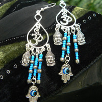 spiritual chandelier earrings Ohm earrings s Hamsa evil eye spiritual earrings earrings yoga buddha new age boho tribal beach hipster style