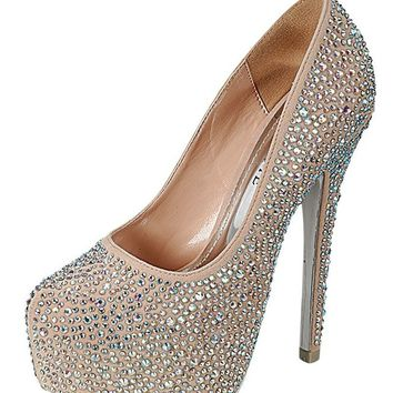 Mascotte Linda 03 High Heel Shoes Stilettos Pumps w/ Rhinestones Nude Beige