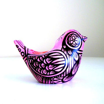 Bird Planter Ceramic Painted Metallic Pink Black Painted Folk Art Home Decor Tattoo - READY TO SHIP