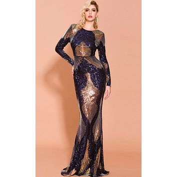 Expensive Taste Blue Gold Sequin Geometric Pattern Long Sleeve Round Neck Scoop Back Bodycon Maxi Dress