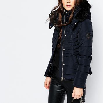 Pimkie Faux Fur Trim Padded Jacket