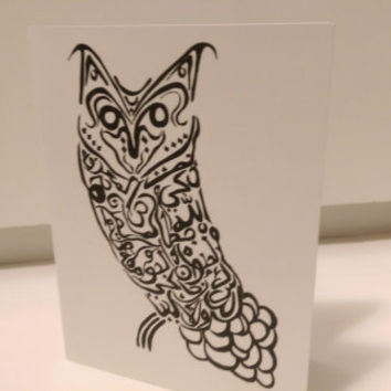 Owl Card Arabic Calligraphy Original any occasion set (blank inside, folded card)