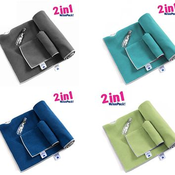Non Slip Extra Thick Yoga Towel plus Hand Towel 2 in1 Set.  Super Absorbent