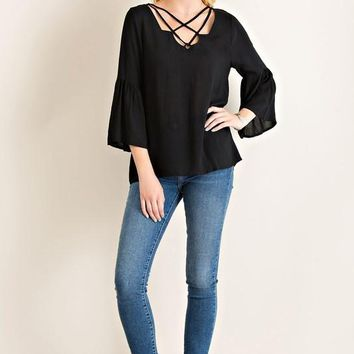 Black Strappy Ruffle Sleeve Top