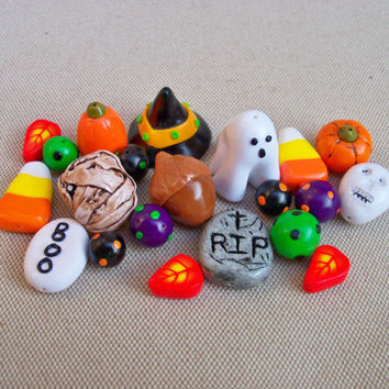Halloween Charms and Beads, handmade polymer clay, set of 21