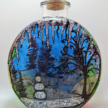 Winter Wonderland Hand Stained Glass Art Bottle / Home Decor