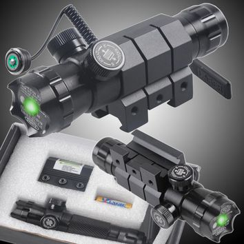 CVLIFE Shockproof 532nm Tactical Green Dot Laser Sight Rifle Gun Scope w/ Rail & Barrel Mount Cap Pressure Switch