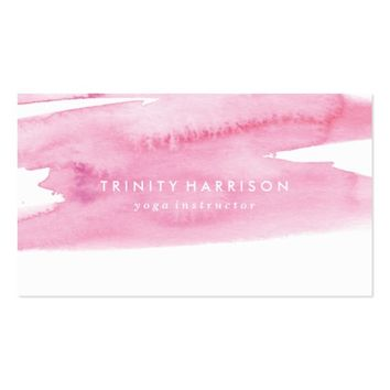 Modern Pink Watercolor Wash Business Card