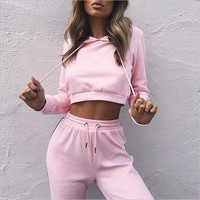 Cropped Striped Track Suit Set
