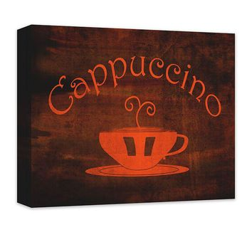 Cappuccino Cup Word Art Canvas Wall Art