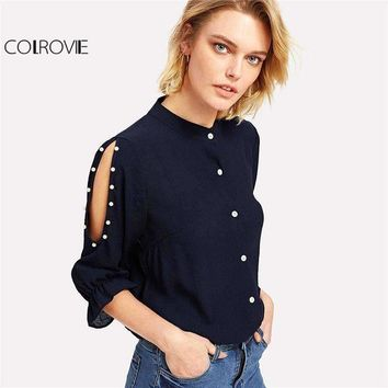 Colrovie Stand Collar Pearl Beading Blouse Women 3/4 Sleeve Split Shoulder Plain Top Navy Casual Button Shirt