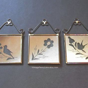 Vintage Miniature Brass Mirrors with Flower and Bird Design, Boho / Bohemian Decor