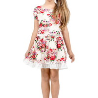 FLORAL PATTERN PRINT LACE TRIM DRESS GIRLS