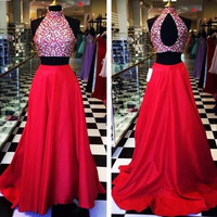 New Arrival Two Piece Prom Dress Beaded Bodice Red Taffeta Skirt Dress APD1656