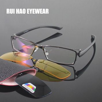 RUI HAO EYEWEAR Optical Eyeglasses Frame Men Women Full Rimless Design Polarized sunglasses clip on Night Vision Glasses clip