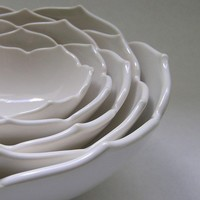 Ceramic Nesting Lotus Bowls Set of Five in White by whitneysmith