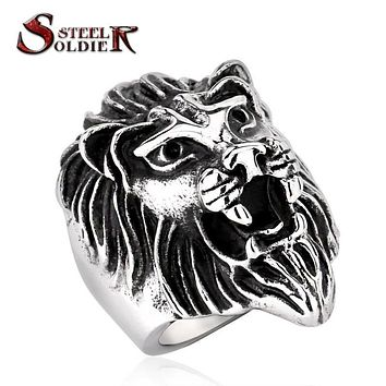 Steel soldier Lion Head Ring for Men's Fashion Stainless Steel ring trendy titanium steel jewelry BR8-234